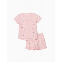 GIRL'S 'FLAMINGOS' PAJAMAS, PINK