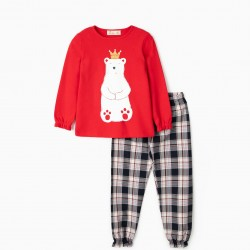 BEAR KING PAJAMAS FOR GIRLS, RED / PLAID