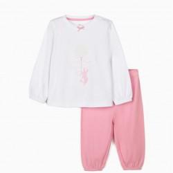 BABY GIRL PAJAMAS 'CUTE BUNNY' WHITE/PINK