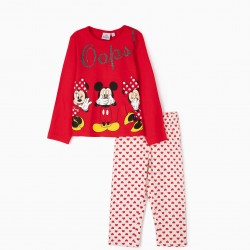 PYJAMAS FOR GIRLS 'MINNIE & MICKEY OOOPS!', RED/WHITE