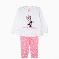 GIRLS 'MINNIE MOUSE' PAJAMAS, WHITE AND PINK