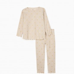 'HEARTS' GIRL'S RIBBED PAJAMAS, BLENDED BEIGE