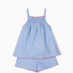 GIRLS' PAJAMAS WITH EMBOSSING, BLUE