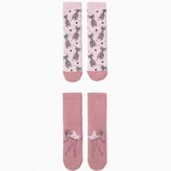2-PACK OF NON-SLIP SOCKS FOR GIRLS 'BALLERINA', PINK