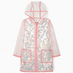 GIRLS' HOODED AND SEQUINED PARKA, TRANSPARENT
