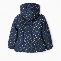 QUILTED JACKET FOR GIRLS 'STARS', DARK BLUE