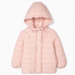 QUILTED JACKET FOR GIRLS WITH FRILLS, PINK