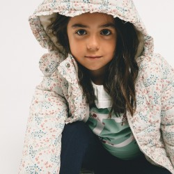 QUILTED JACKET FOR GIRLS 'FLOWERS', GRAY