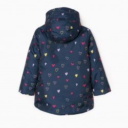 'HEARTS' GIRL'S QUILTED JACKET, DARK BLUE