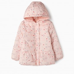 QUILTED JACKET FOR GIRLS 'HEARTS', LIGHT PINK