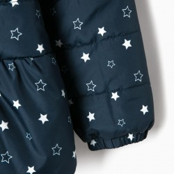 QUILTED JACKET FOR GIRLS 'STARS', DARK BLUE