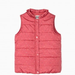 PADDED VEST FOR GIRLS 'DOTS', PINK