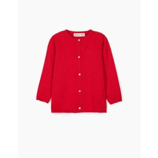 BABY GIRL KNIT JACKET, RED