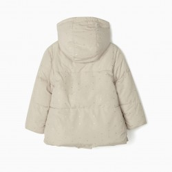 QUILTED JACKET FOR GIRLS 'DOTS', BEIGE