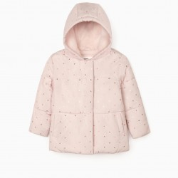 'FLOWERS' GIRL'S QUILTED JACKET, LIGHT PINK