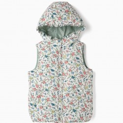 QUILTED VEST FOR GIRLS 'FLOWERS', WHITE