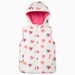 'HEARTS' GIRL'S QUILTED VEST, WHITE