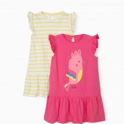 2 JERSEY BABY GIRL DRESSES 'BIRD' PINK/YELLOW/WHITE