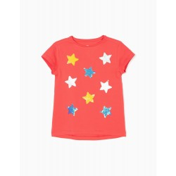 T-SHIRT FOR GIRLS 'STARS', CORAL