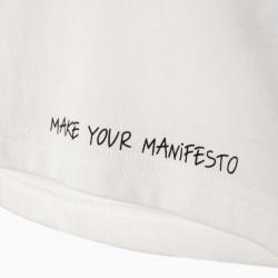 'MAKE YOUR MANIFESTO' GIRL T-SHIRT, WHITE