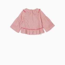 GIRLS BLOUSE WITH POM POMS, PINK