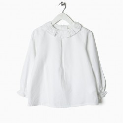 GIRLS BLOUSE WITH RUFFLES, WHITE