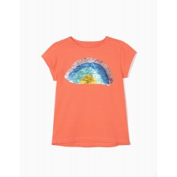 T-SHIRT FOR GIRLS WITH REVERSIBLE SEQUINS, ORANGE