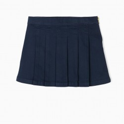GIRL'S PLEATED SKIRT, DARK BLUE