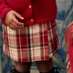 B&S PLAID SKIRT-GIRL, RED / WHITE