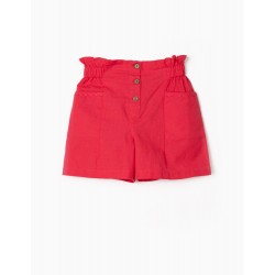 LINEN SHORTS FOR GIRLS, CORAL