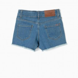 CROCHET GIRLS DENIM SHORTS, BLUE