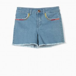 EMBROIDERED DENIM SHORTS FOR GIRLS, LIGHT BLUE