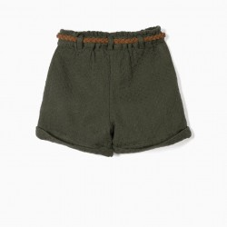 GIRL'S BELT SHORTS, DARK GREEN