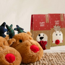 CHRISTMAS REINDEER CHILD SLIPPERS, BROWN