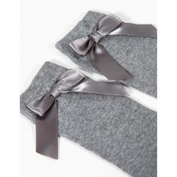 GIRL'S SOCKS WITH BOW, GRAY