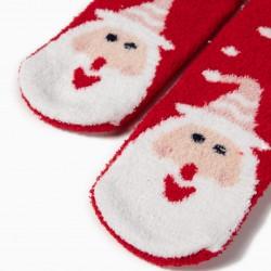 2 PAIRS 'CHRISTMAS' NON-SLIP SOCKS FOR CHILDREN, RED / WHITE