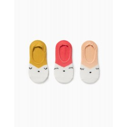 3 PAIRS OF INVISIBLE SOCKS FOR GIRLS, MULTICOLOURED