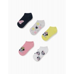 5 PAIRS OF ANKLE SOCKS FOR GIRLS, 'MINNIE MOUSE', MULTICOLOURED