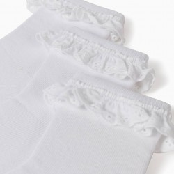 3 PAIRS OF SOCKS WITH BRODERIE ANGLAISE FOR GIRLS, WHITE