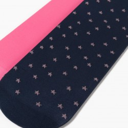 2 TIGHTS FOR GIRLS 'STARS', DARK BLUE / PINK
