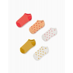 5 PAIRS OF ANKLE SOCKS FOR GIRLS, 'HEARTS & DOTS', MULTICOLOURED