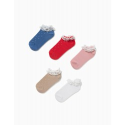 5 PAIRS OF SOCKS WITH LACE FOR GIRLS, MULTICOLOURED
