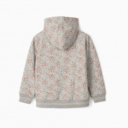 DOTS GIRL HOODED SWEATSHIRT, GRAY
