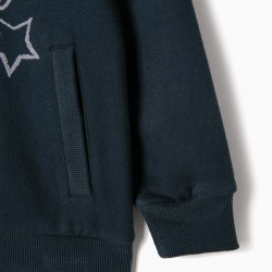 DAYDREAMING GIRL HOODED SWEATSHIRT, DARK BLUE
