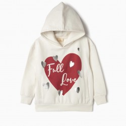 FULL LOVE GIRL HOODED SWEATSHIRT, WHITE