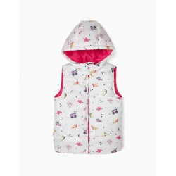 GIRLS 'GIRL GANG' PADDED VEST WITH HOOD, WHITE