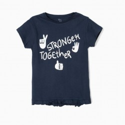 'STAY STRONG' T-SHIRT FOR GIRLS, BLUE