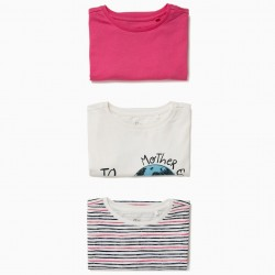 3 GIRLS 'MOTHER EARTH' T-SHIRTS, MULTICOLOR