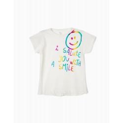 T-SHIRT FOR GIRLS 'SMILE', WHITE