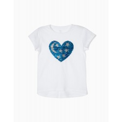 T-SHIRT FOR GIRLS 'HEART & STARS' WITH REVERSIBLE SEQUINS, WHITE